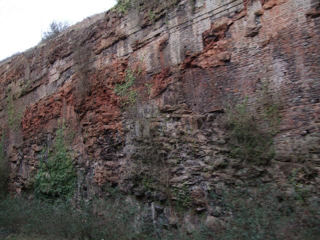 Red sandstone, railway cutting, St Anne's