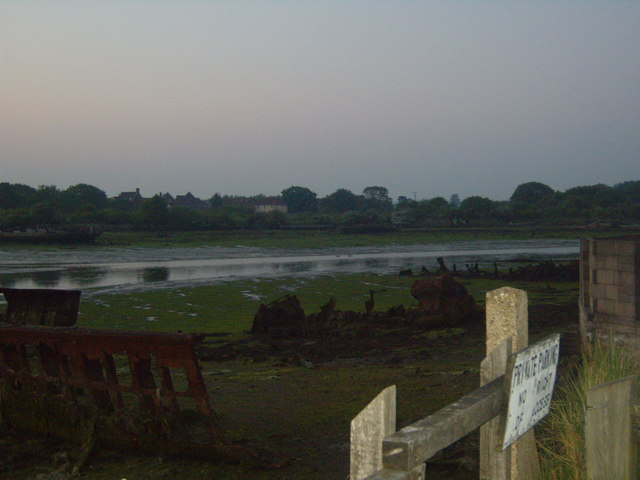 Wrecks after sunset, from Parham Road
