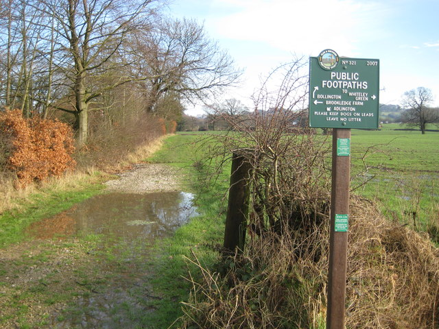 Footpath junction between Whiteley Green and Adlington