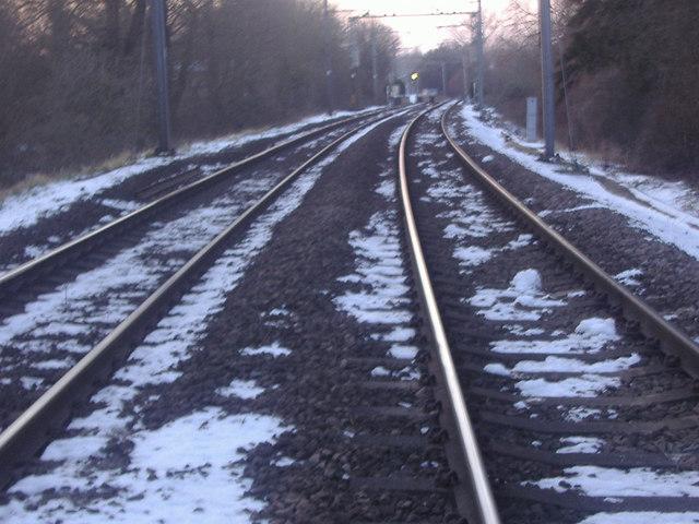 Railway line leading to Roydon station