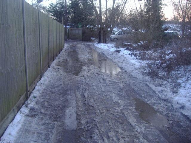 Track from pedestrian railway crossing, Roydon