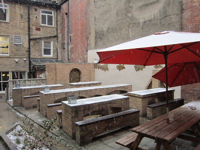 The beer garden at the Shoulder of Mutton