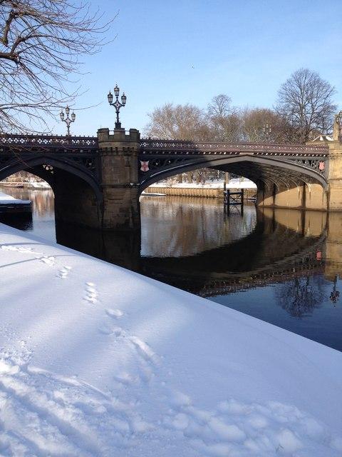 Skeldergate Bridge in snow, York