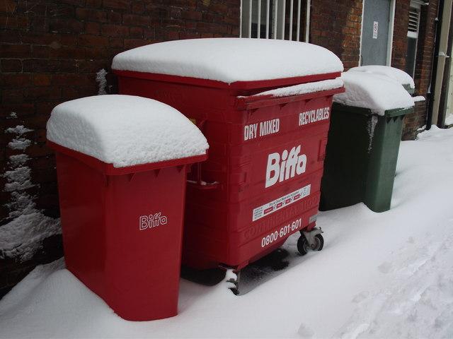 Red Bins And Green Bin