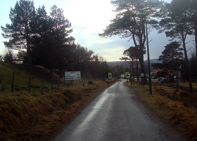 Signs on the B871 at Kinbrace