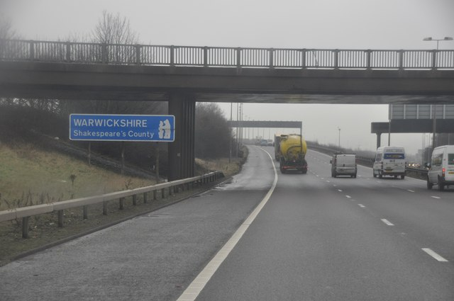 North Warwickshire : The M6 Motorway & Warwickshire Sign