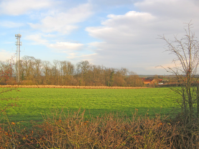 Communications mast near Whitehills Farm