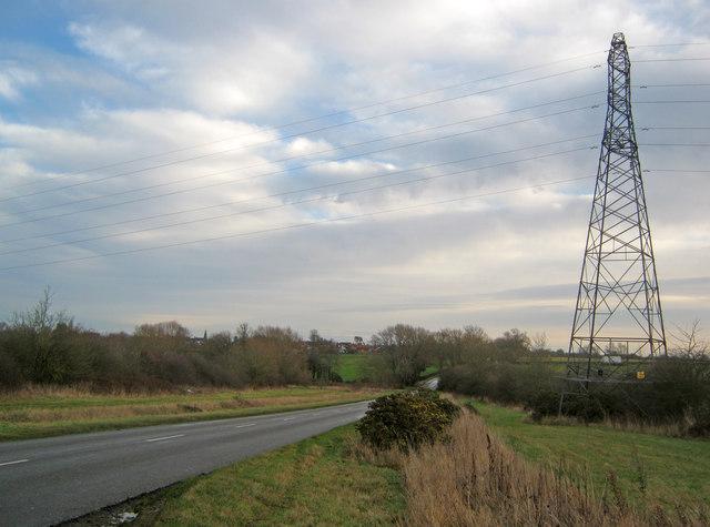 Power lines crossing East Road