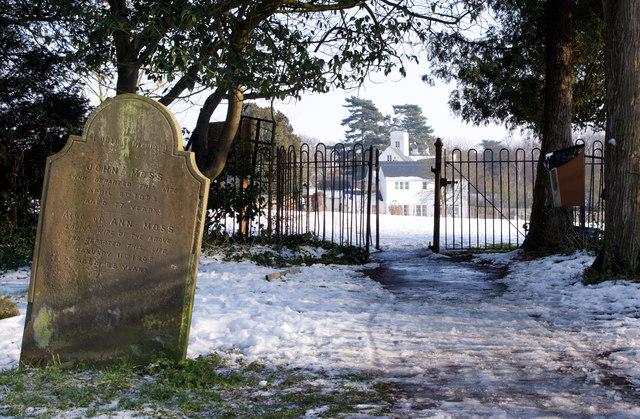 Linton churchyard after snowfall