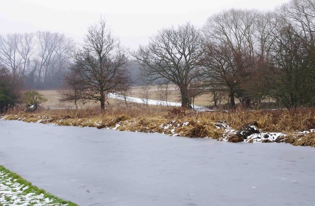 View across the frozen Staffs & Worcs Canal, near Wolverley
