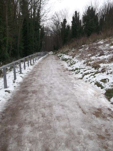 Icy path and handrail to Chatham