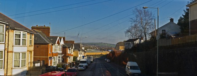 A view of Old Sticklepath Hill from the upper deck of the 21a bus