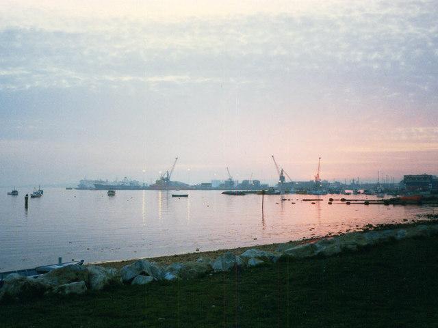 Poole Docks at twilight