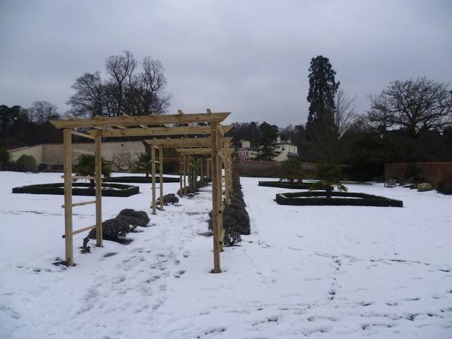 The walled garden at Heathfield in the snow