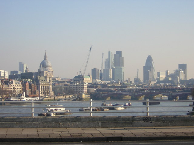 Winter view from Waterloo Bridge: looking east to the City