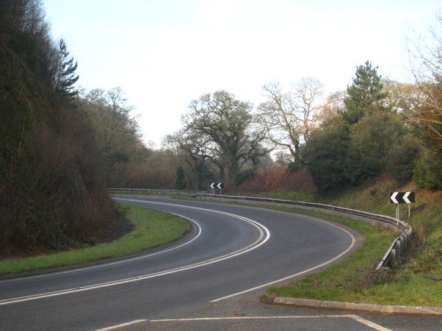 Bend in the A390 near Tregoninny