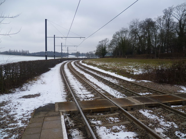 Snowy view from Gravel Hill Tramlink Stop