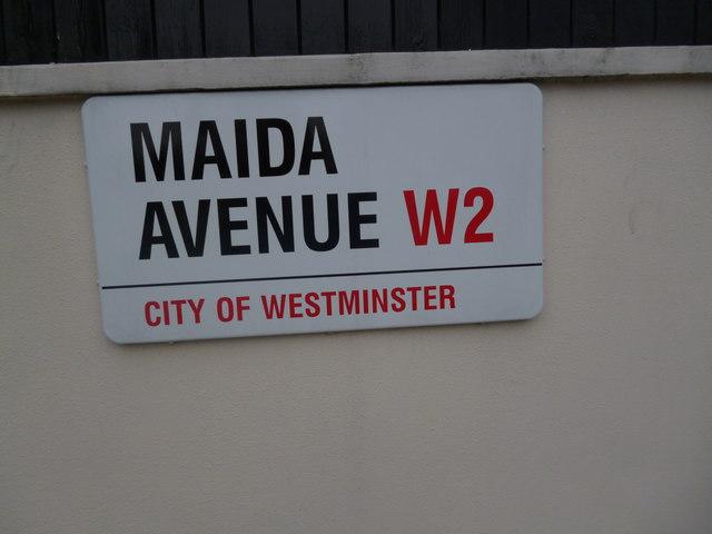 Street sign, Maida Avenue W2