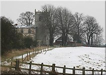 SK8259 : Langford Church in the snow by roger geach