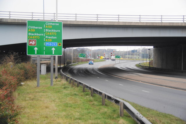 The A59 going under the M6