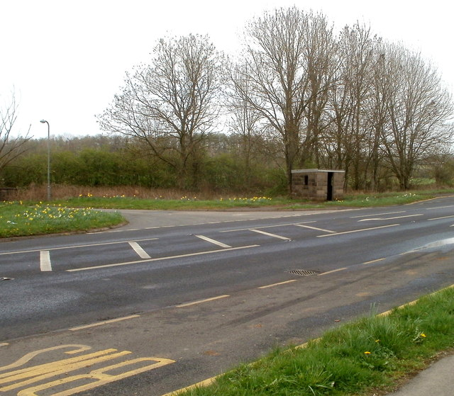 Bus shelter on the corner of the A48 and the road to Trewen