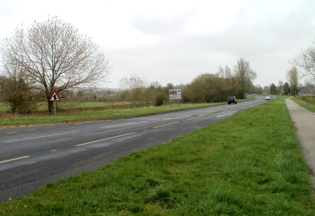 Staggered junction ahead on the A48 west of Caerwent