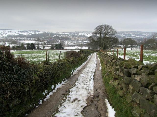 Bridleway descending towards Menston