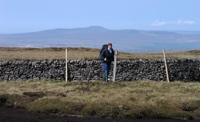 Wall crossing summit of Fountains Fell south top