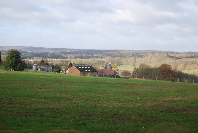 View to Tutsham Hall Farm and Oast