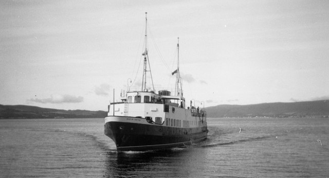 Maid of Ashton approaches Kilcreggan Pier, Firth of Clyde, early morning, August 1958
