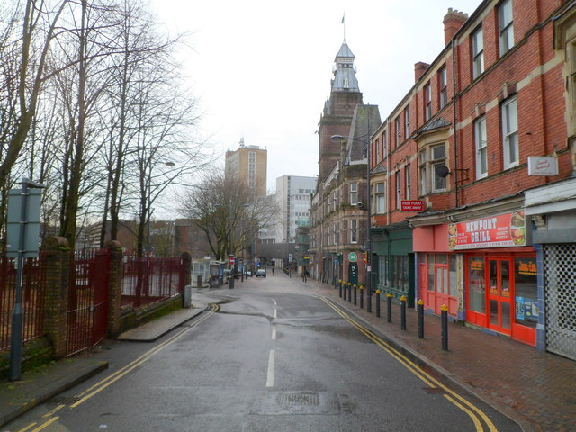 A view south along Upper Dock Street, Newport