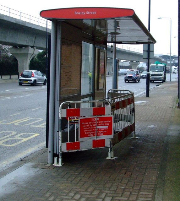 Bus shelter on North Woolwich Road