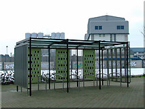 TQ4080 : Cycle shelter at West Silvertown DLR station by Thomas Nugent