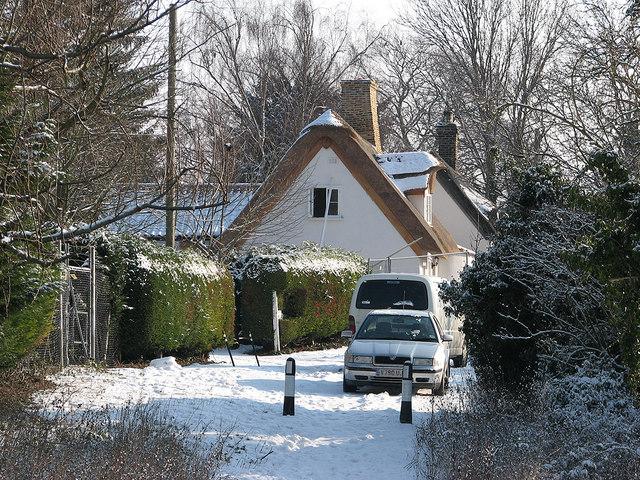 Horningsea: snow in Dock Lane