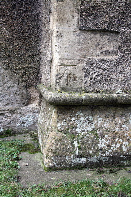 Benchmark on west end of St Matthew's Church