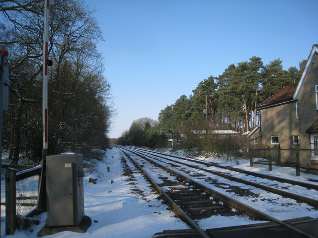 The railway at Holton Gatehouse crossing