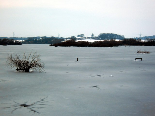Fairburn Ings frozen under ice and snow