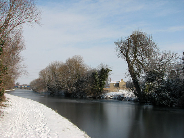 Ice on the Cam north of Fen Ditton