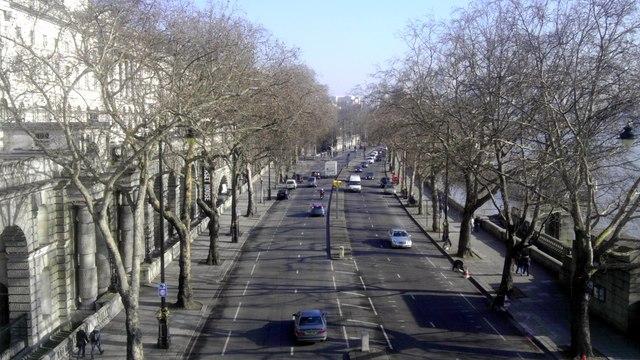 Victoria Embankment viewed from Waterloo Bridge