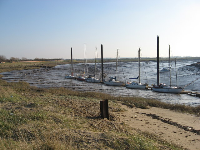 Marina on the River Brue looking upstream at low tide