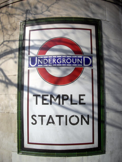 Underground sign outside Temple Station London