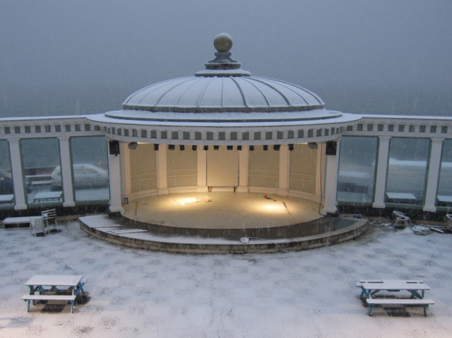 The Spa bandstand in the snow