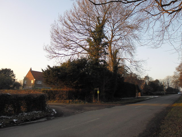 Road and path junction at Forestside