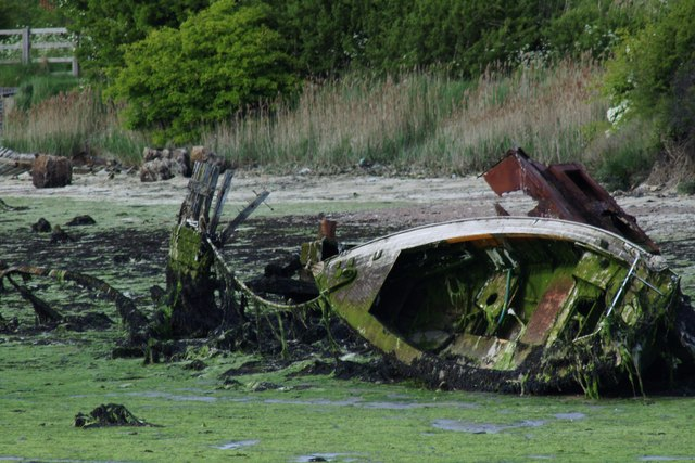Wrecked leisure boat and unknown vessel, Forton Lake