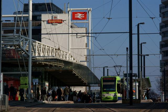 Tram at East Croydon Station
