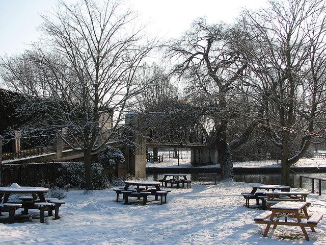 The Green Dragon: snowy garden and bridge