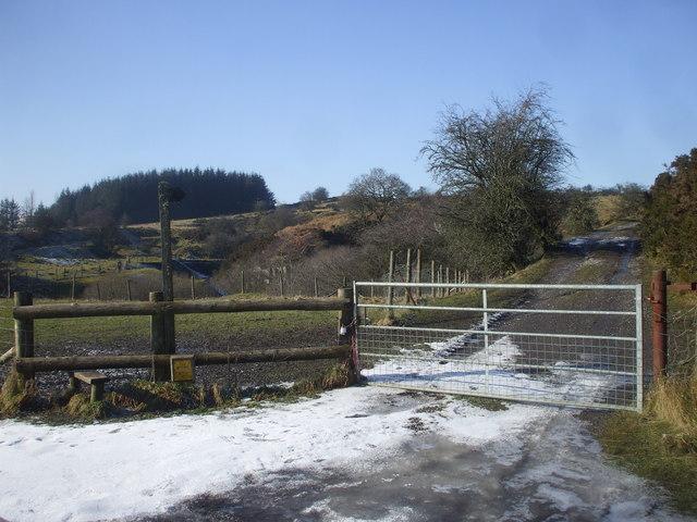 Stile and footpath sign, Cwm Nantmelyn