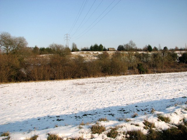 Snowy pastures east of Hintlesham