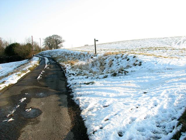 Snowy fields east of Hintlesham