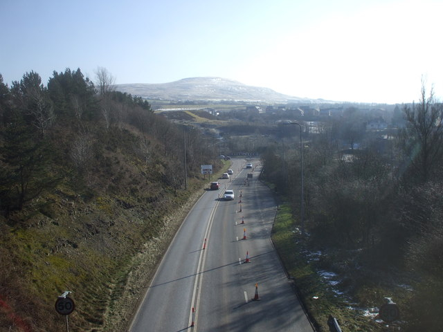 The A465 (Heads of the Valleys Road), approaching the junction with the A467 and A4047